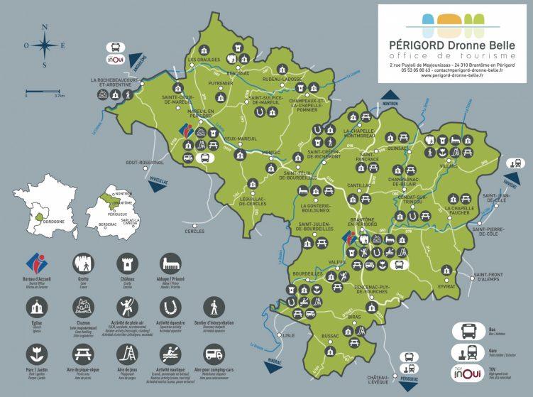 Carte touristique PERIGORD Dronne Belle 2020